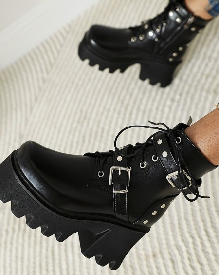 Round-toe Solid Color Splicing Buckle Lace-up Platform Biker Boots