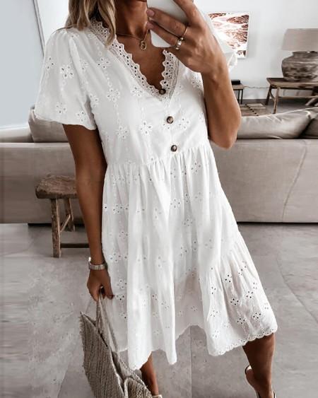 Eyelet Embroidery Short Sleeve Casual Dress