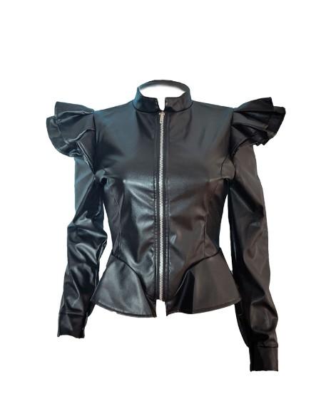 PU Leather Ruffles Decor Zipper Design Coat
