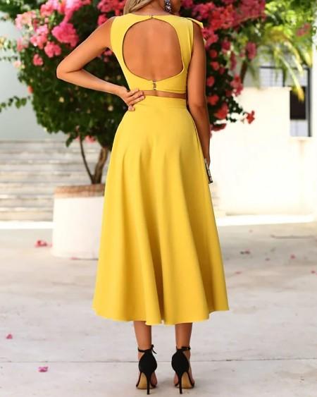Ruffles Backless Crop Top & Maxi Skirt Set