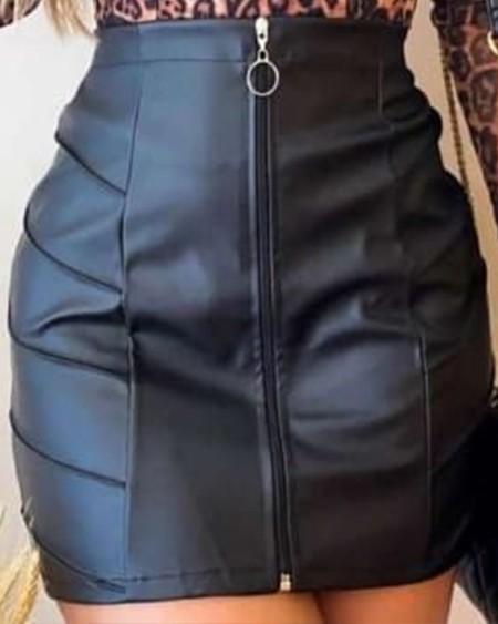 PU Leather Zipper Up Mini Skirt