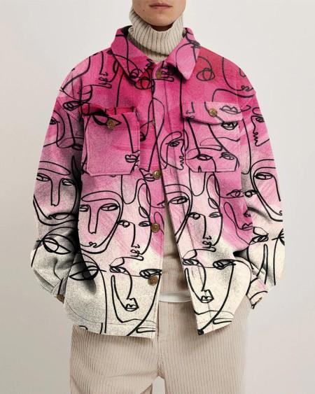 Art Abstract Print Long Sleeve Overshirt