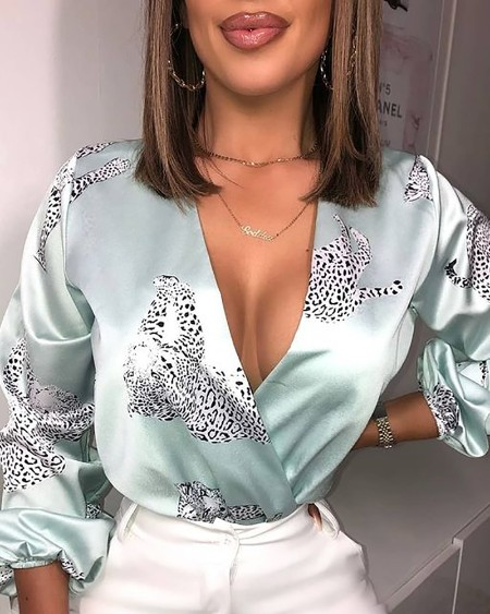 Leopard Print Long Sleeve Satin Bodysuit