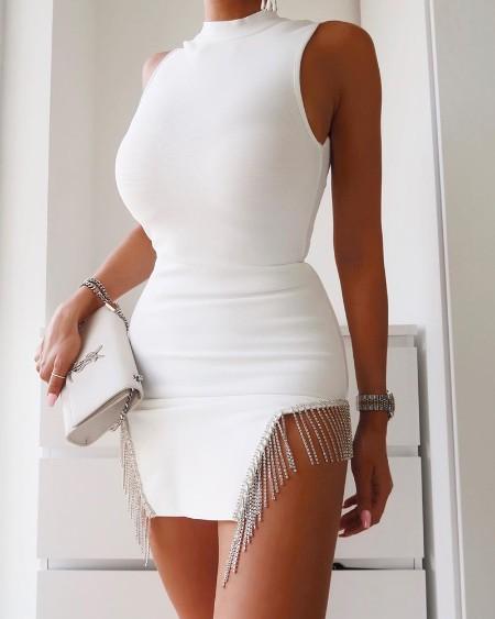Chain Tassel Detail Sleeveless Bodycon Dress
