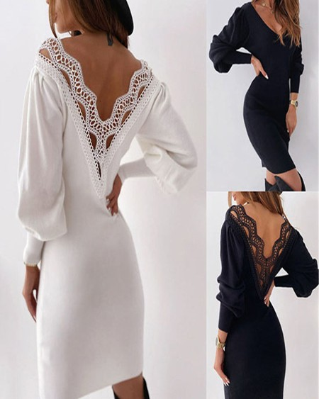 Lace Patch Backless Lantern Sleeve Bodycon Dress