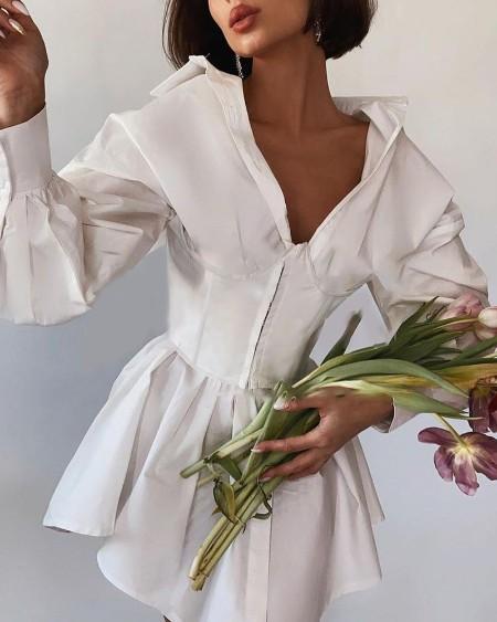 Zipper Button Design Long Sleeve Corset Shirt Dress