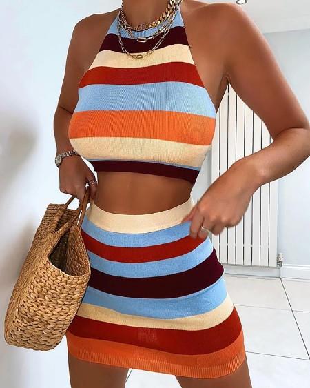 Striped Print Knit Halter Crop Top & Skirt Sets