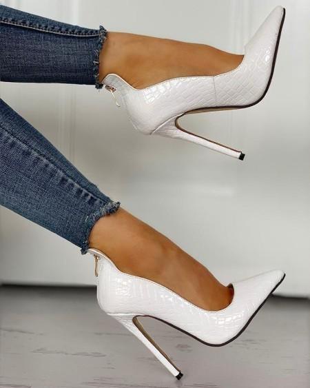 Pointed Toe Zip Detail PU Heels