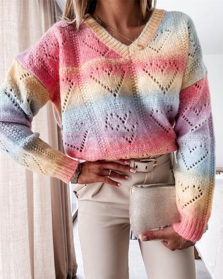 Colorblock Heart Pattern Long Sleeve Sweater
