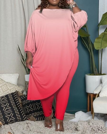 Plus Size Ombre Asymmetrical Top & Pants Set