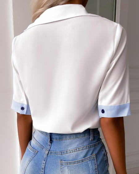 Colorblock Pocket Button Design Shirt