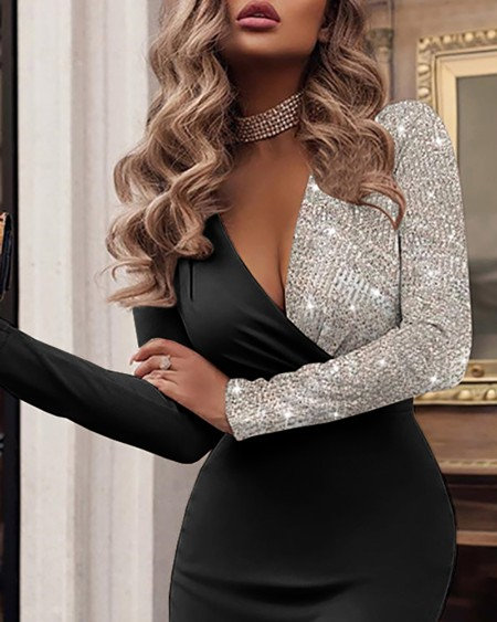 Sequins Patch Long Sleeve Party Dress