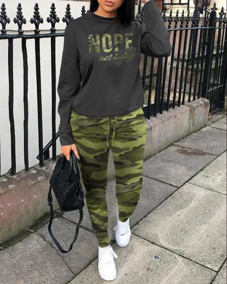 Camouflage Letter Print Top & Drawstring Pants Set