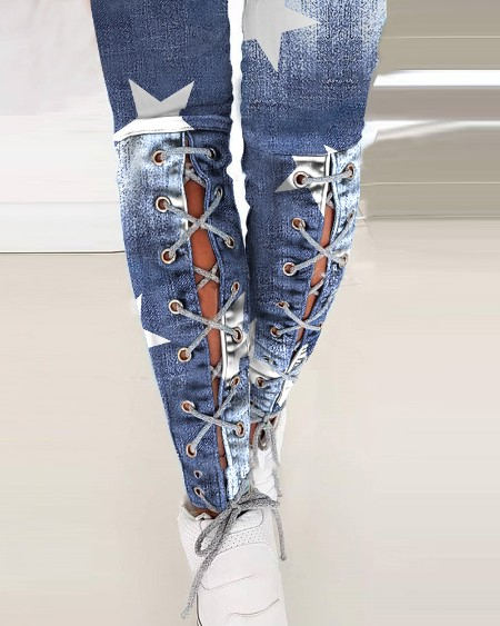 High Stretch Star Print Lace-up Skinny Pants