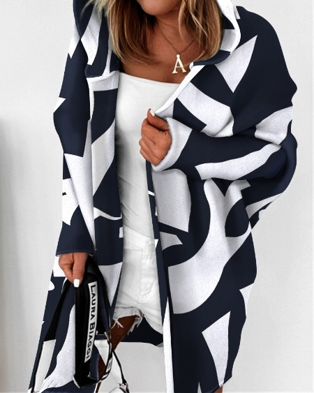 Open Front Batwing Hooded Colorblock Cardigan