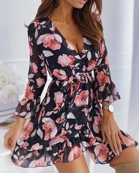 Floral Print Surplice Neck Ruffles Dress