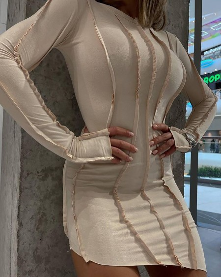 Contrast Piping Long Sleeve Asymmetrical Bodycon Dress