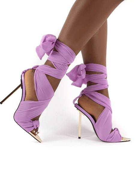 Ladies Point Toe Satin Tied Open Toe High Heel Sandals