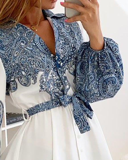 Lantern Sleeve Paisley Print Shirt Dress With Belt