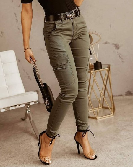 Zipper Pocket Design Casual Pants Without Belt