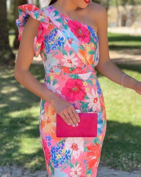 One Shoulder Ruffles Slit Floral Print Dress