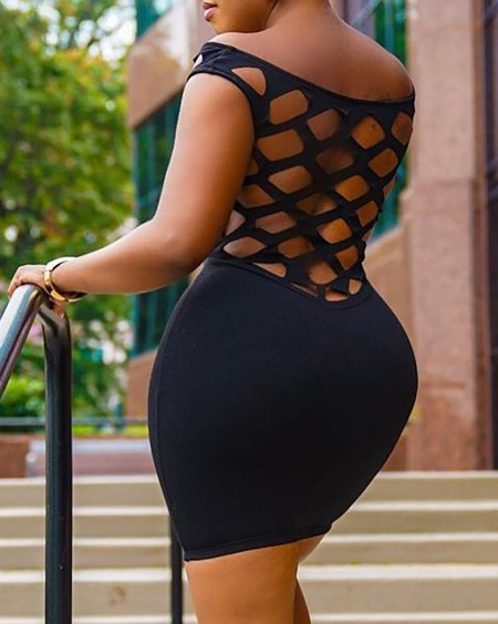 Short Sleeve Cutout Skinny Bodycon Dress