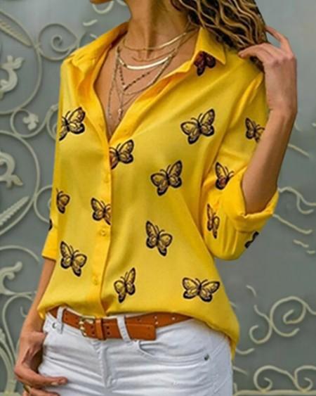 Butterfly Print Button Design Blouse