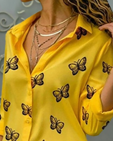 Butterfly Print Button Design Blouse