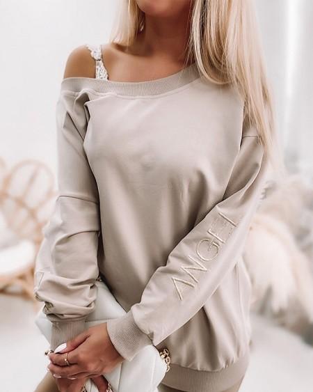 Contrast Sequin Back Drop Shoulder Sweatshirt