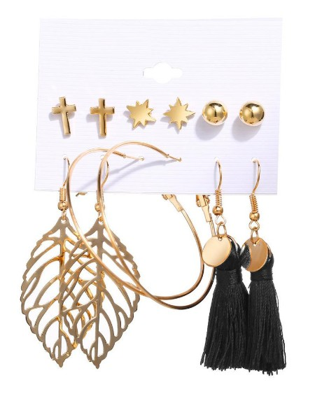 6 Pairs Beaded Hoop Tassel Ear Cuff Earring Set