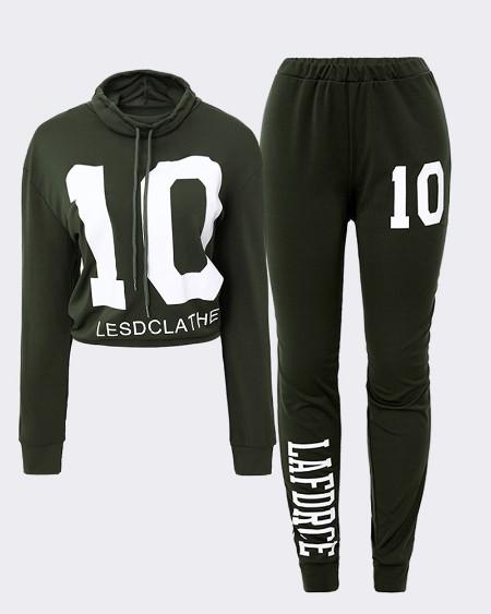 Number Letter Print Sweatshirt & High Waist Pants Set