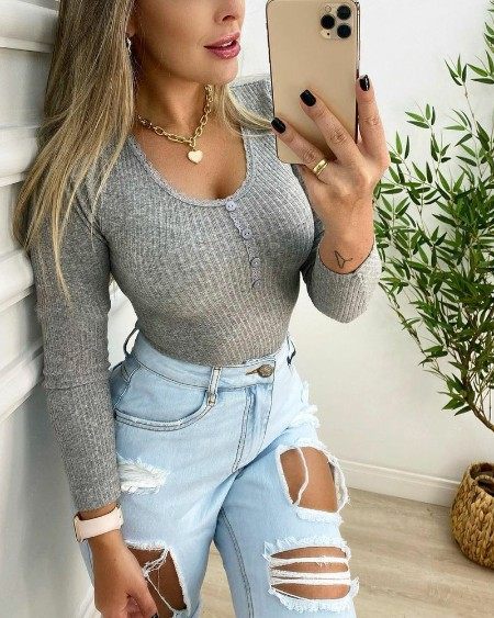 Contrast Lace Long Sleeve Ribbed Top