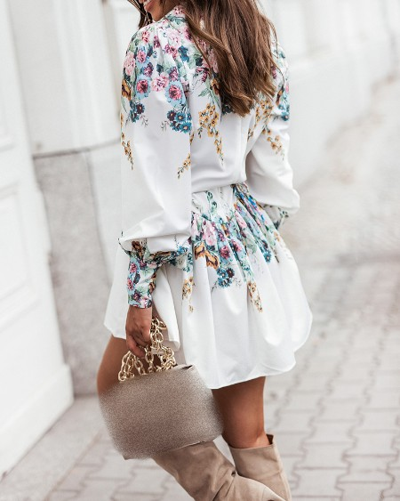 Floral Print Lantern Sleeve Ruched Casual Dress