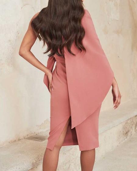 One Shoulder Rhinestone Buckled Slit Evening Dress