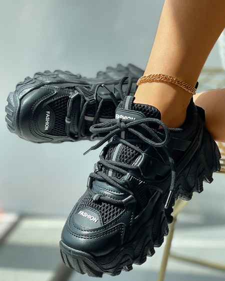 Lace-up Front Casual Muffin Sneaker