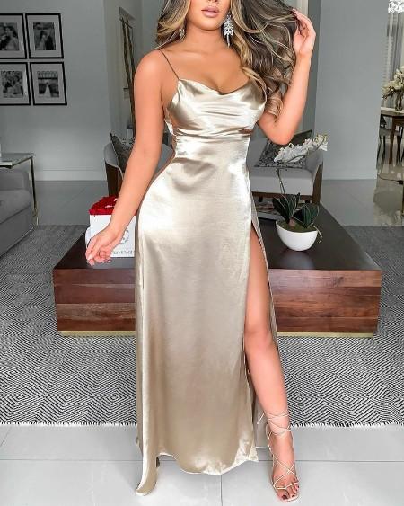 Solid Cowl Neck Split Thigh Satin Cami Dress