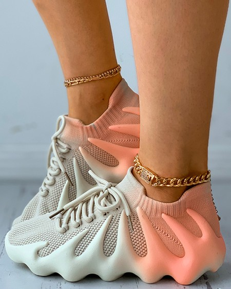 Colorblock Lace-up Front Knit Sneaker