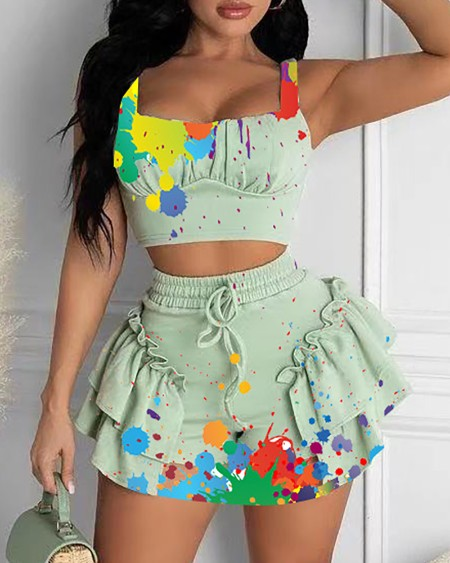 Ink Splash Print Crop Top & Frill Hem Drawstring Skirt Sets