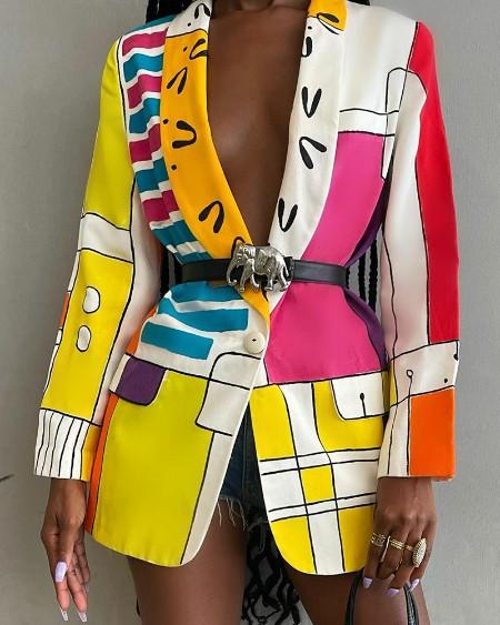 Abstract Print Shawl Collar Single Button Blazer