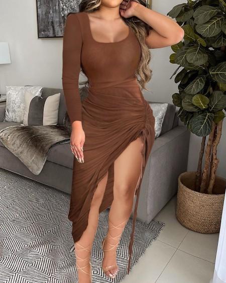 Solid Color Sleeveless Drawstring Ruched High Slit Bodycon Dress U-Neck Midi Dress