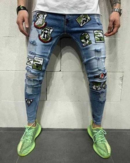 Skinny Ripped Patchwork Badge Print Denim Trousers