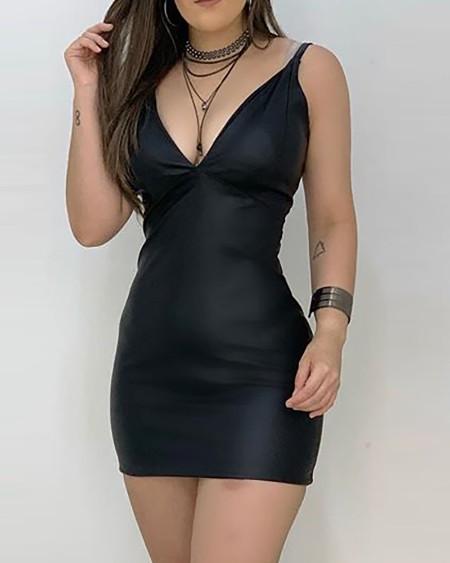 Spaghetti Strap Plunge Bodycon Dress