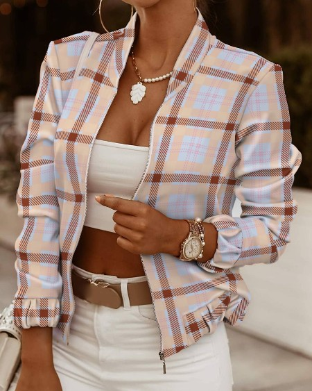 Plaid Print Long Sleeve Zip Up Jacket