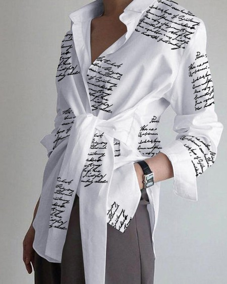 Letter Print Tied Detail Long Sleeve Top