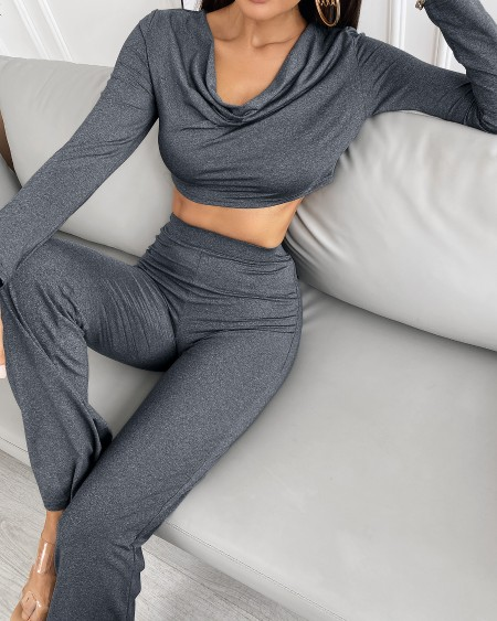 Cowl Neck Crop Top & Wide Leg Pants Set