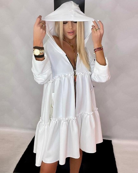 Frill Hem Ruched Long Sleeve Hooded Casual Dress