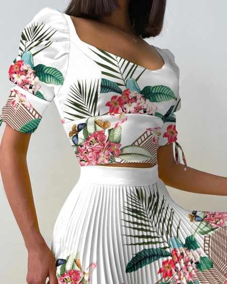 Floral Print Tied Puff Sleeve Top & Pleated Skirt Set