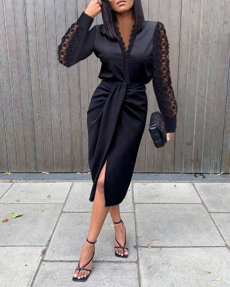 Contrast Lace Long Sleeve Work Dress