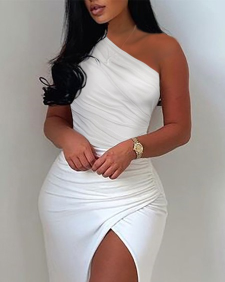 Solid One Shoulder Split Thigh Ruched Maxi Dress