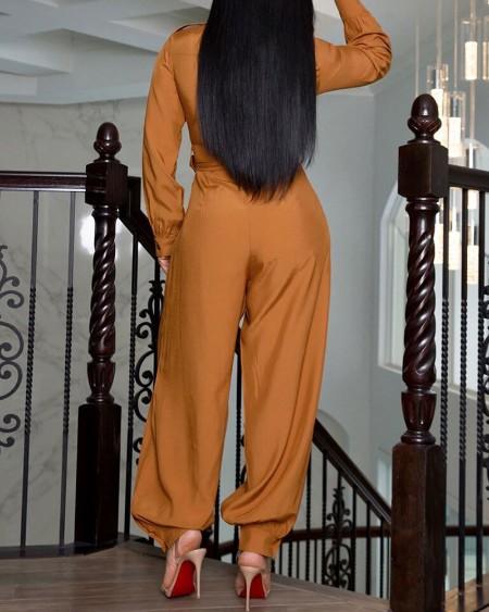 Long Sleeve Pocket Design Buttoned Jumpsuit